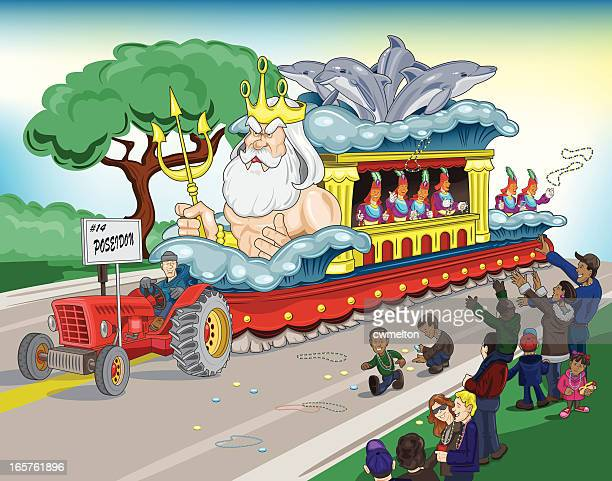 mardi gras parade float - parade stock illustrations, clip art, cartoons, & icons