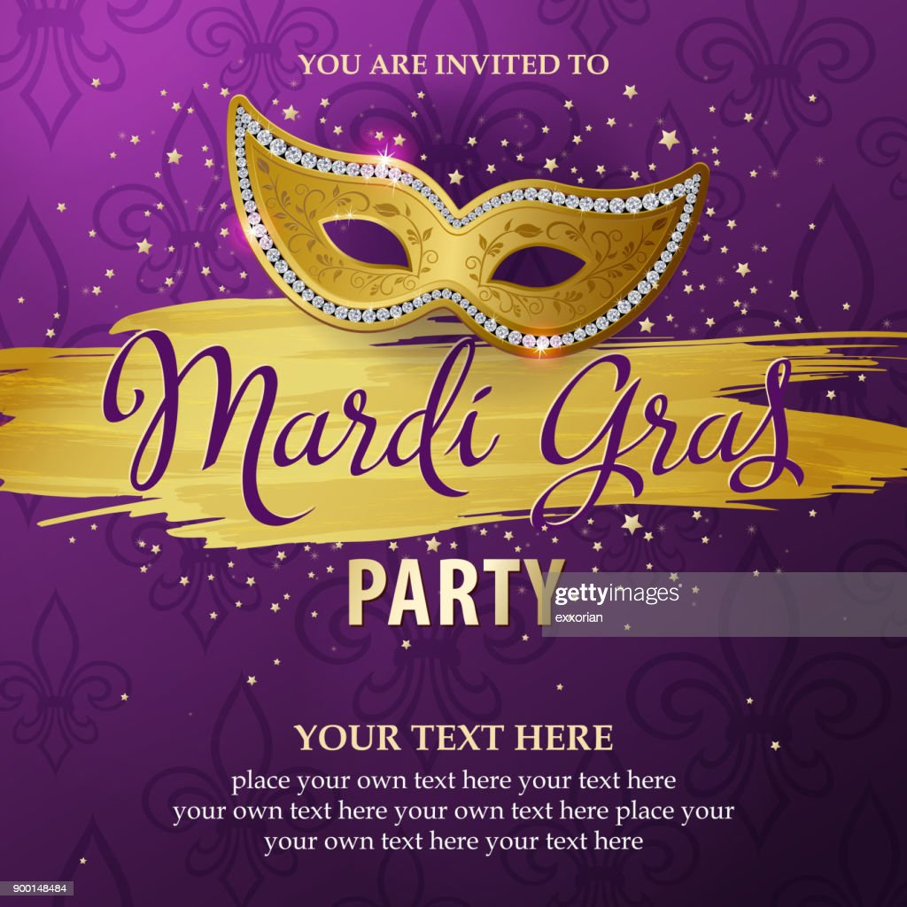 Mardi Gras Party Invitations Vector Art | Getty Images