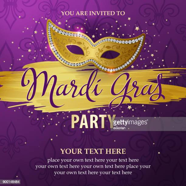 mardi gras party invitations - purple stock illustrations