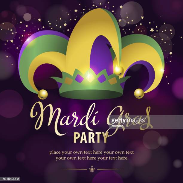 mardi gras party jester hat - carnival celebration event stock illustrations, clip art, cartoons, & icons