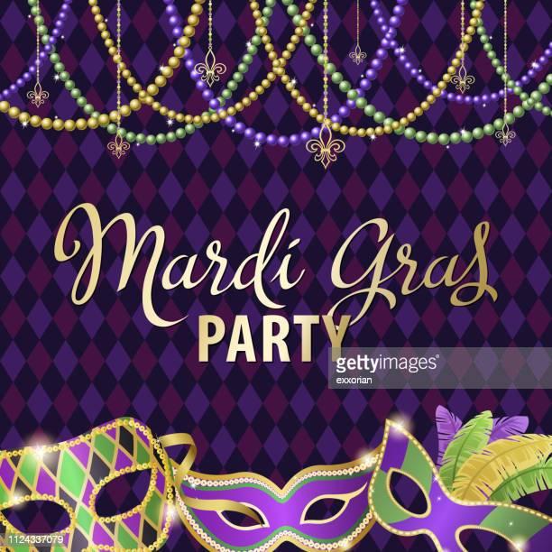 ilustraciones, imágenes clip art, dibujos animados e iconos de stock de máscaras fiesta mardi gras - gras
