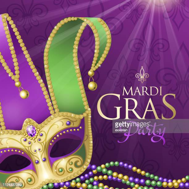 mardi gras party with jester mask - jester's hat stock illustrations, clip art, cartoons, & icons
