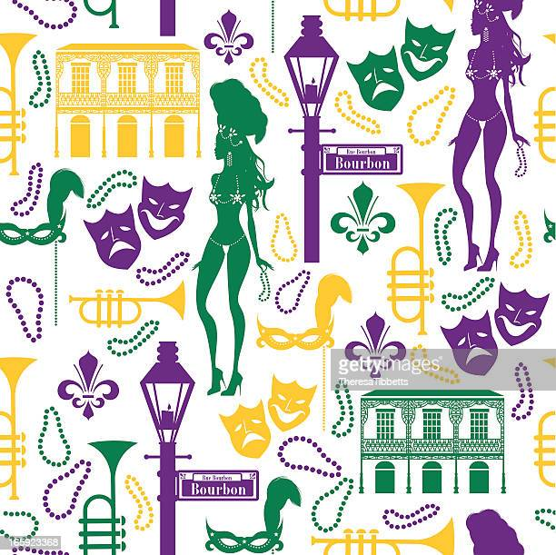 mardi gras pattern - new orleans stock illustrations, clip art, cartoons, & icons