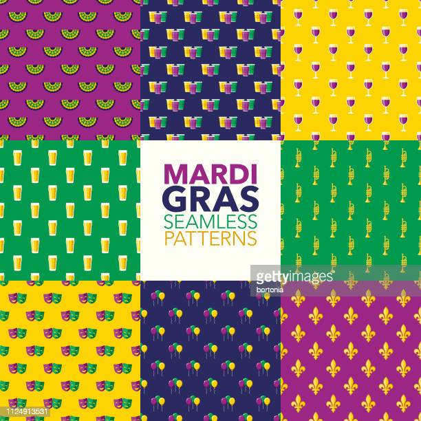 ilustrações de stock, clip art, desenhos animados e ícones de mardi gras patterns - carnaval