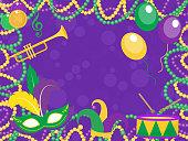 Mardi Gras poster with mask, beads, trumpet, drum, fleur de