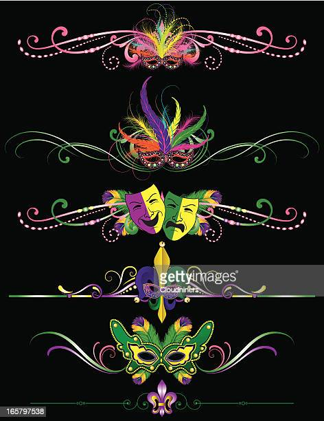 mardi gras rule lines for carnival in new orleans - mardi gras stock illustrations, clip art, cartoons, & icons