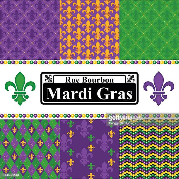 mardi gras seamless patterns set - new orleans stock illustrations, clip art, cartoons, & icons