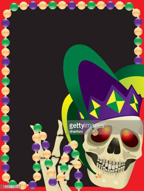 mardi gras skull and jester hat - jester's hat stock illustrations, clip art, cartoons, & icons