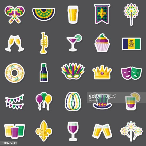 illustrations, cliparts, dessins animés et icônes de mardi gras sticker set - galette des rois