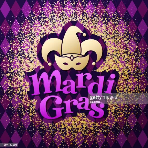 mardi gras symbol goldstaub - farbpulver stock-grafiken, -clipart, -cartoons und -symbole