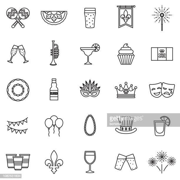 illustrations, cliparts, dessins animés et icônes de mardi gras thin line icon set - galette des rois