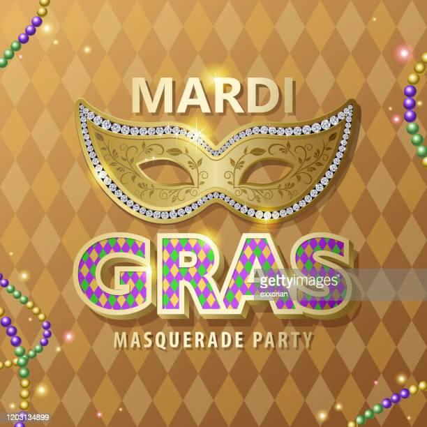 マルディグラのタイポグラとマスク - 舞踏会点のイラスト素材/クリップアート素材/マンガ素材/アイコン素材