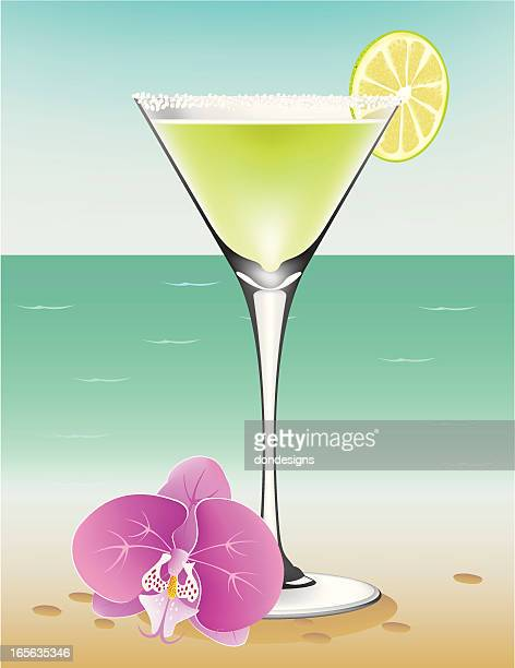 margarita at the beach - frozen drink stock illustrations