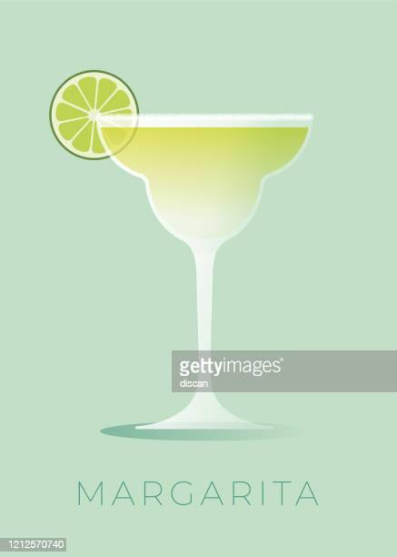 ilustrações, clipart, desenhos animados e ícones de margarita cocktail com cunha de cal. - tequila drink