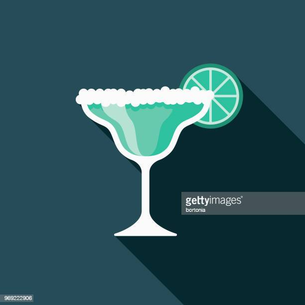 margarita flat design summer icon with side shadow - frozen drink stock illustrations