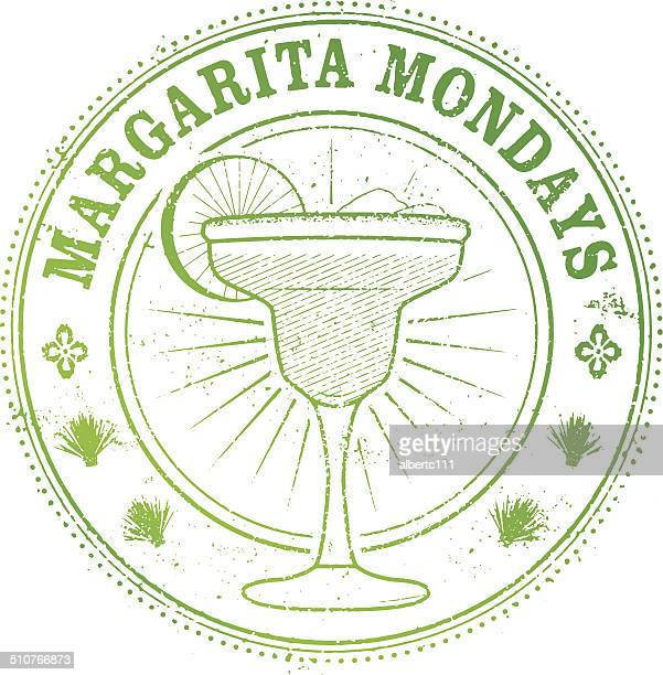 margarita monday stamp - tequila drink stock illustrations, clip art, cartoons, & icons