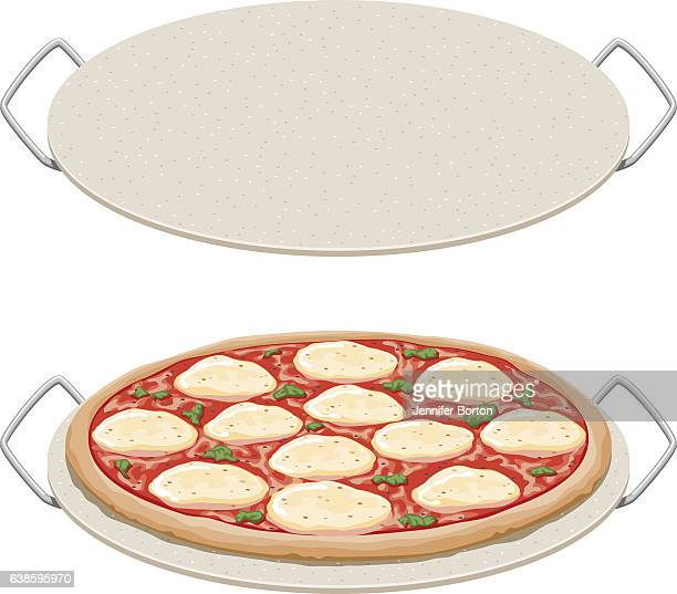 margharita pizza on a ceramic pizza stone, side view - margarita stock illustrations