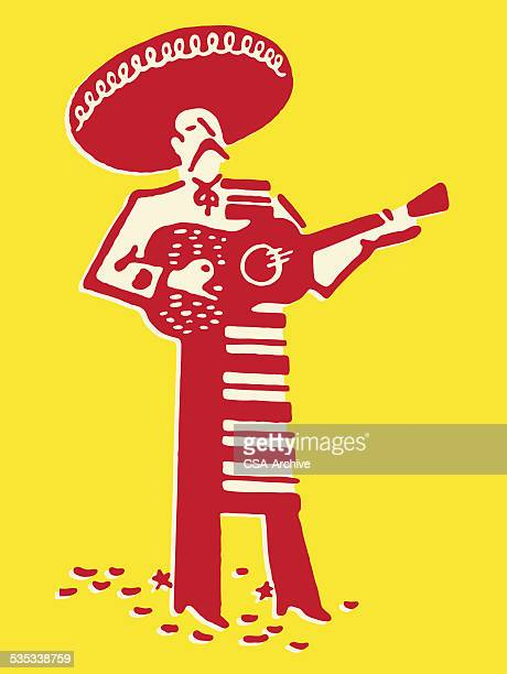 mariachi band guitarist - musician stock illustrations, clip art, cartoons, & icons
