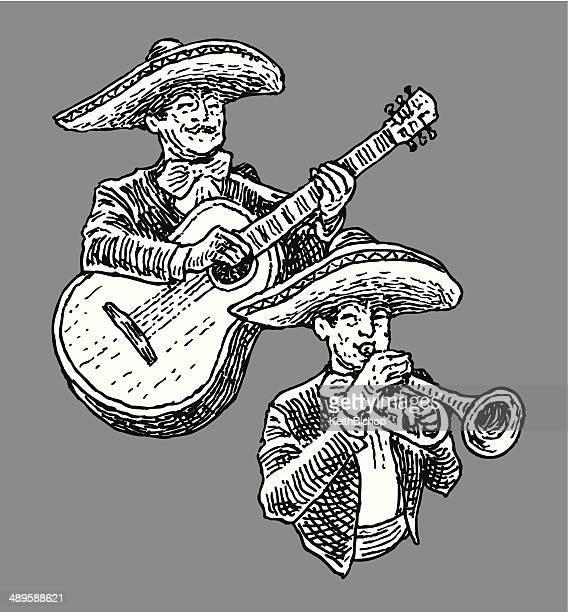ilustraciones, imágenes clip art, dibujos animados e iconos de stock de banda mariachi - mariachi
