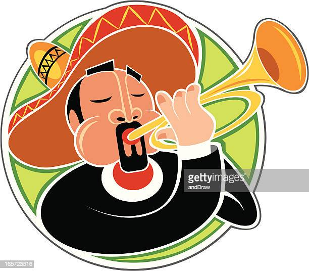 mariachi playing horn - mariachi stock illustrations