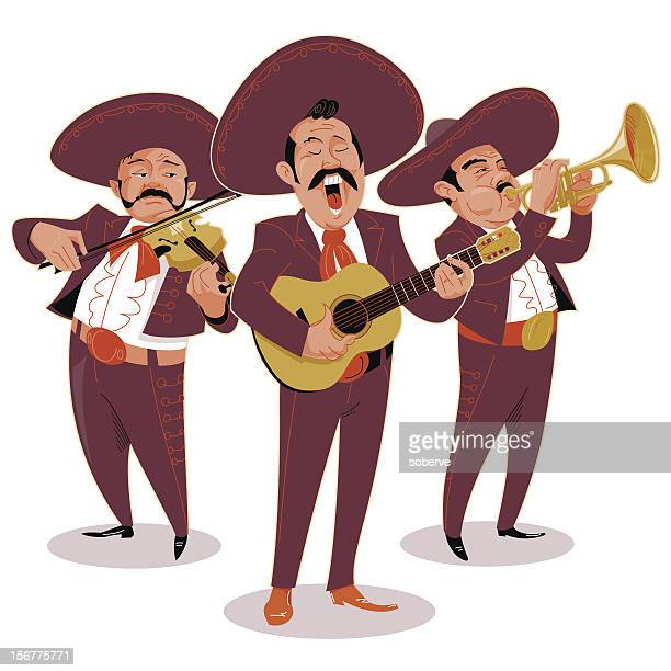 mariachis - sombrero stock illustrations