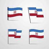 Mari-El waving Flag set design vector