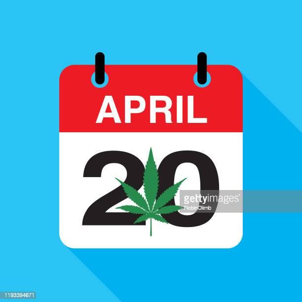 マリファナ 420 カレンダー アイコン - 合法化点のイラスト素材/クリップアート素材/マンガ素材/アイコン素材