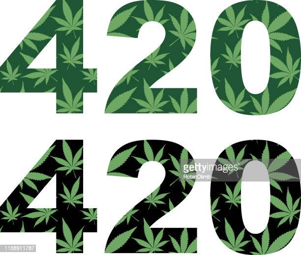 marijuana 420 leaves pattern - marijuana leaf text symbol stock illustrations, clip art, cartoons, & icons