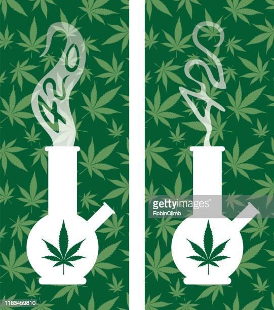 marijuana 420 smoking bongs - bong stock illustrations, clip art, cartoons, & icons