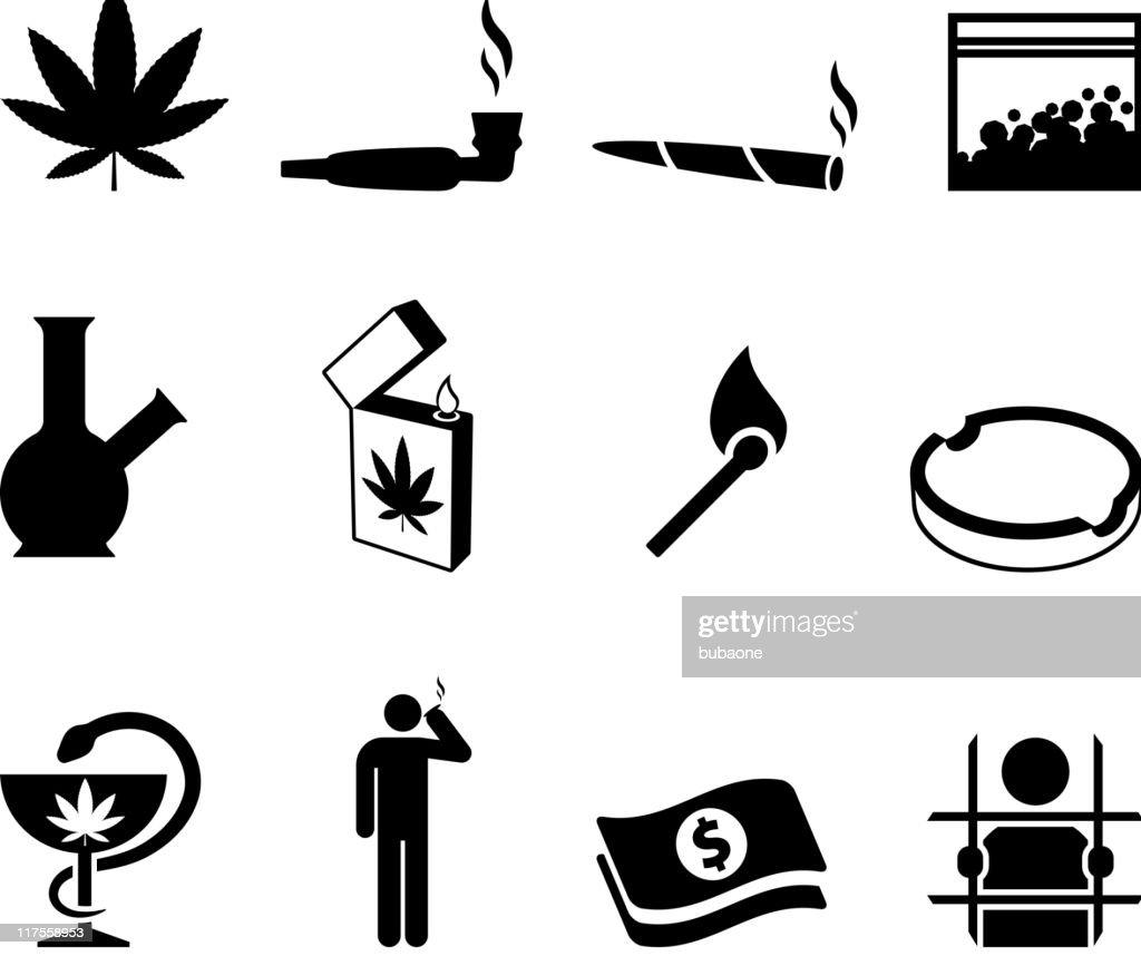 marijuana black and white royalty free vector icon set