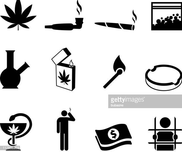 ilustraciones, imágenes clip art, dibujos animados e iconos de stock de marihuana blanco y negro sin royalties de conjunto de iconos vectoriales - fumar marihuana