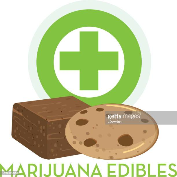 marijuana cannabis edible - brownie stock illustrations, clip art, cartoons, & icons