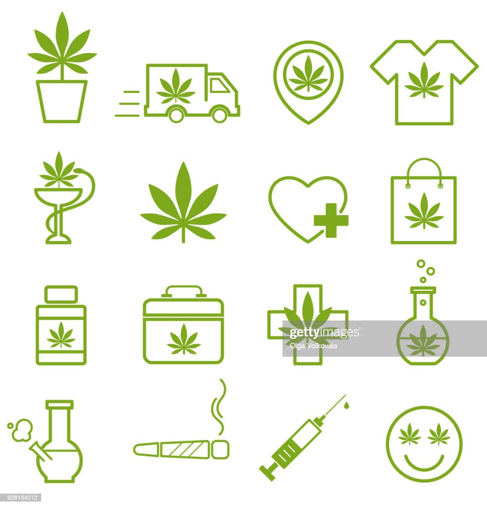 Marijuana, Cannabis icons. Set of medical marijuana icons. Marijuana leaf.