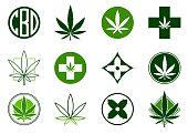 Marijuana, Cannabis icons set.  Set of medical and recreational marijuana logo and icons.