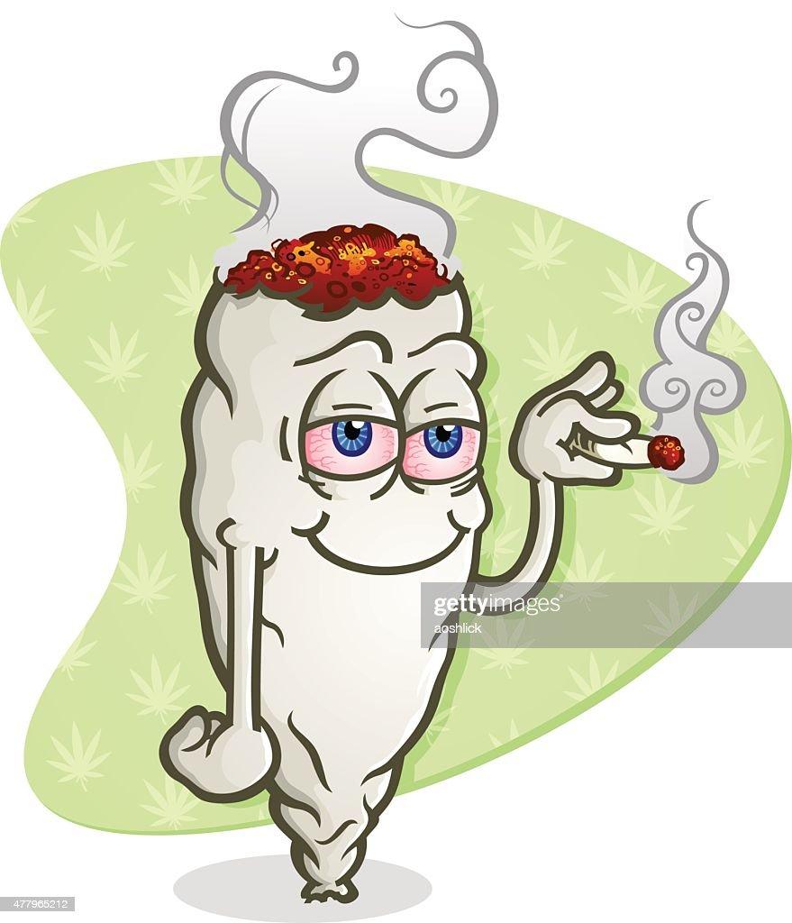 Marijuana Cartoon Character Smoking a Joint