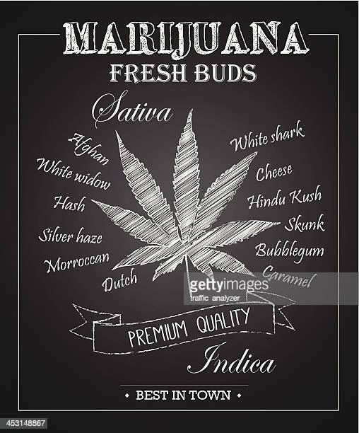 marijuana chalkboard art - marijuana leaf text symbol stock illustrations, clip art, cartoons, & icons