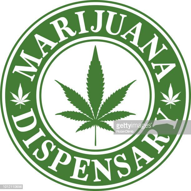 marijuana dispensary icon - marijuana leaf text symbol stock illustrations, clip art, cartoons, & icons