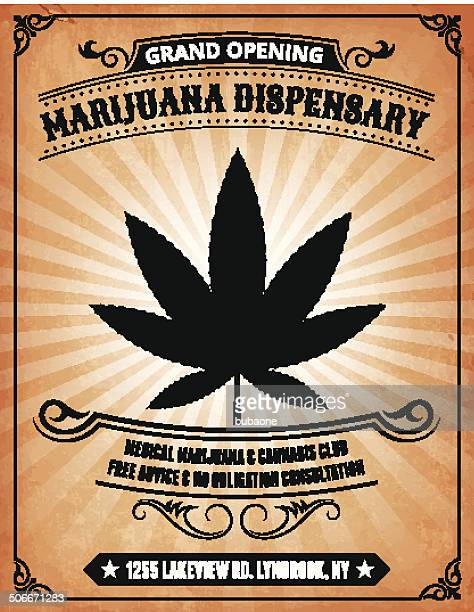 marijuana dispensary on royalty free vector background poster - cannabis medicinal stock illustrations, clip art, cartoons, & icons