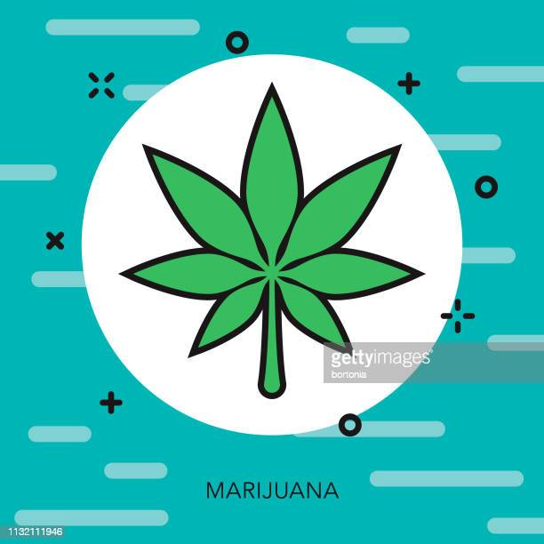 marijuana drugs thin line icon - marijuana leaf text symbol stock illustrations, clip art, cartoons, & icons
