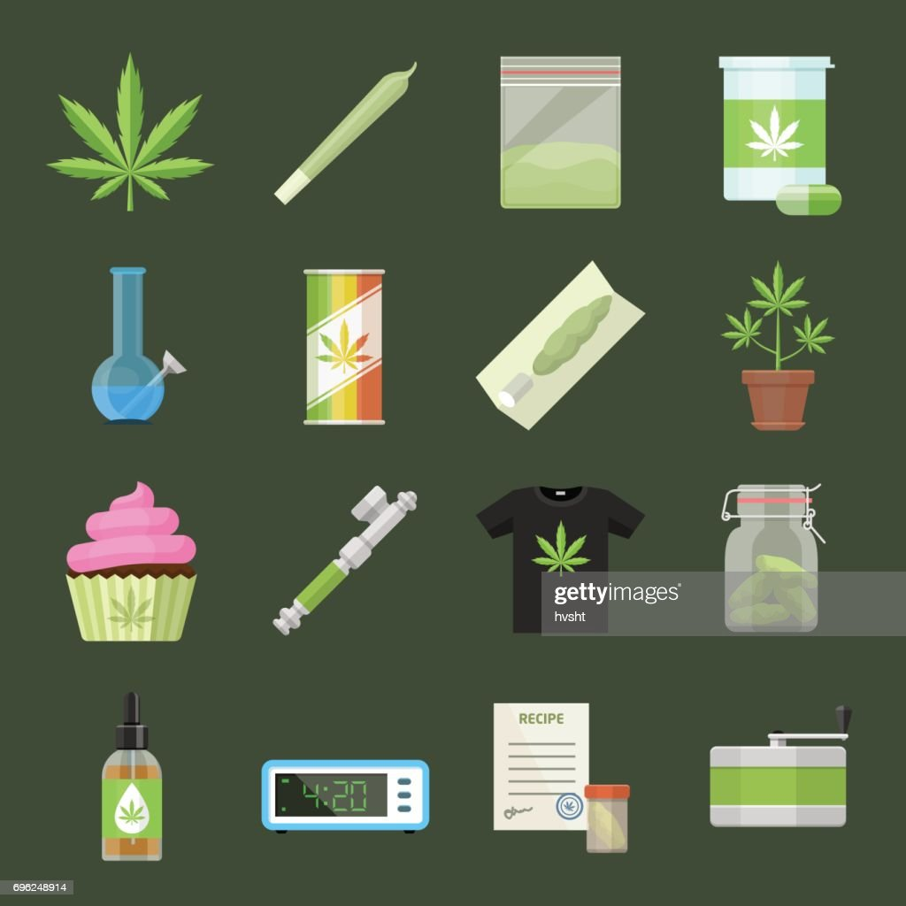 Marijuana equipment and accessories for smoking, storing and growing medical cannabis. Colorful ganja rastafarian vector icon set in cartoon flat style