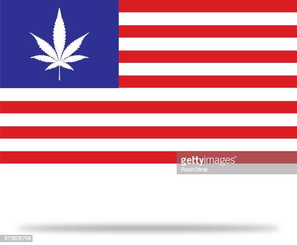 usa marijuana flag with shadow - hemp stock illustrations, clip art, cartoons, & icons