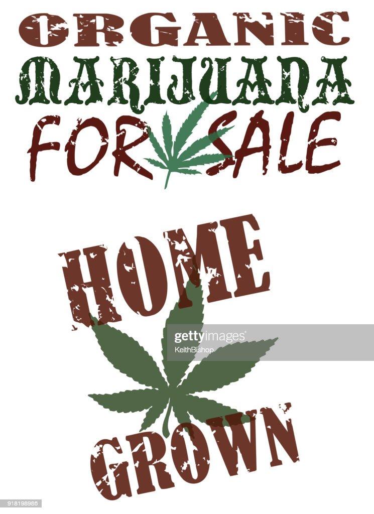Maconha para venda, casa cresceu, orgânica : Ilustração