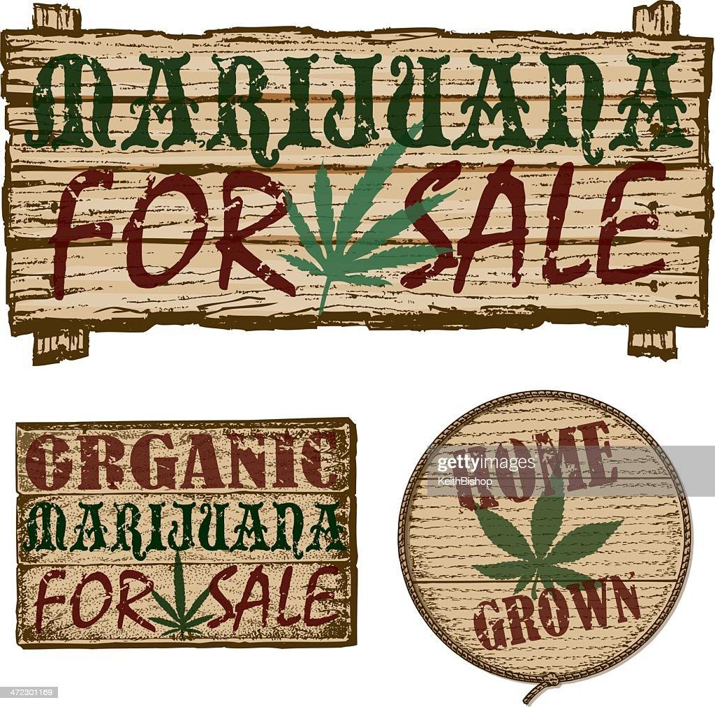 Maconha para venda-placas : Ilustração