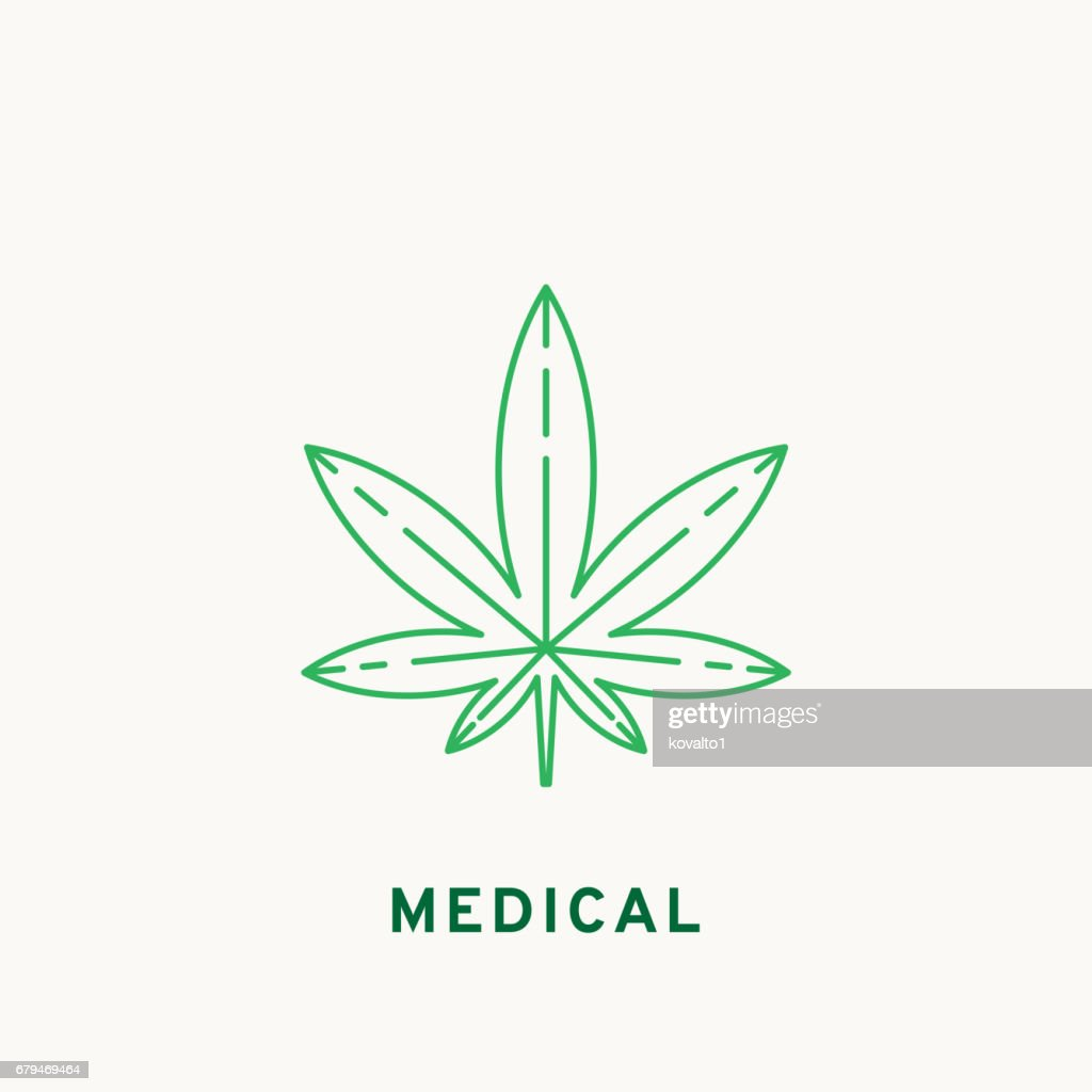 Marijuana icon, line design