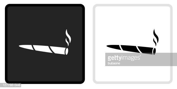 marijuana icon on  black button with white rollover - marijuana joint stock illustrations