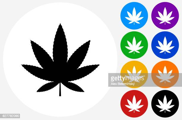 marijuana icon on flat color circle buttons - cannabis leaf stock illustrations, clip art, cartoons, & icons
