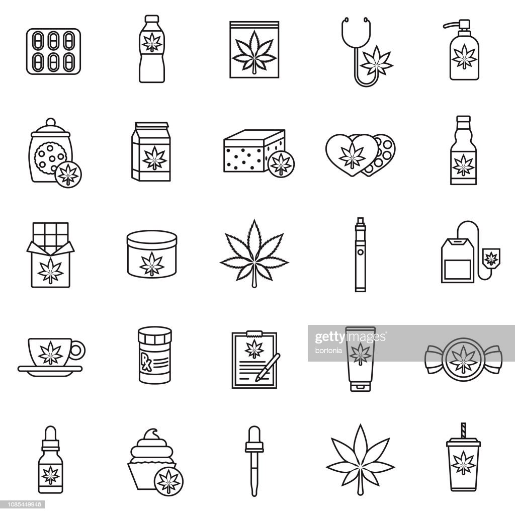 Marijuana Icon Set : stock illustration