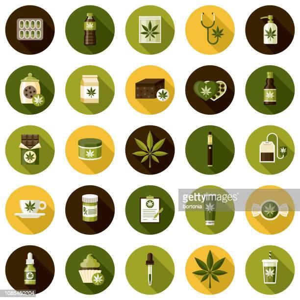 marijuana icon set - medical cannabis stock illustrations