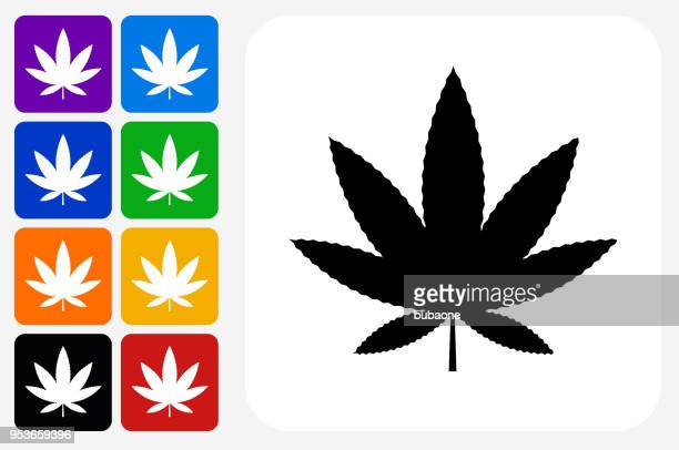 Marijuana Icon Square Button Set