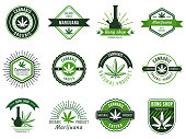 Marijuana label. Smoke weeds, cannabis joint and hashish or weed smoking device. Marijuana seeds vector illustration set